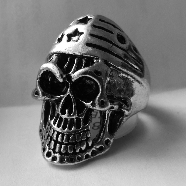 Biker Ring USA Flag Skull