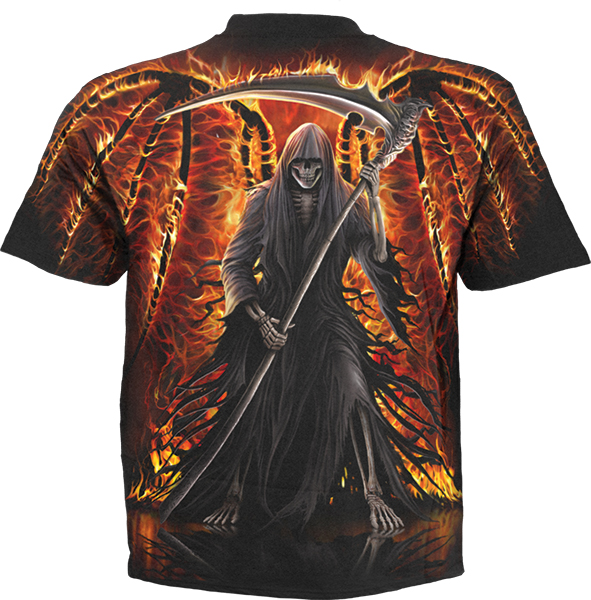 Tricou W021M105 - FLAMING DEATH Allover print